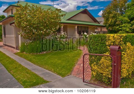 Pink Rendered House With Attic In A Rural Australian Town