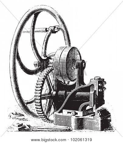 Guillotine, vintage engraved illustration. Industrial encyclopedia E.-O. Lami - 1875.