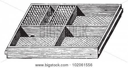 Rack dryer, vintage engraved illustration. Industrial encyclopedia E.-O. Lami - 1875.