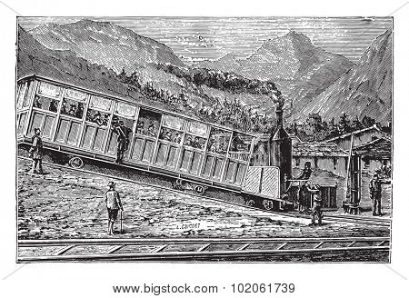 Railway rack Rigi. Locomotive and freight car, vintage engraved illustration. Industrial encyclopedia E.-O. Lami - 1875.