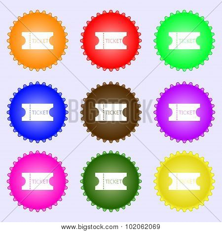 Ticket Icon Sign. A Set Of Nine Different Colored Labels. Vector