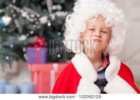 Cheerful male child is celebrating New Year