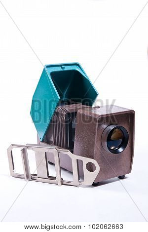 Retro Projector For Displaying Of Slides On The White Background.