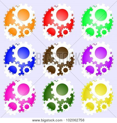 Cog Settings Sign Icon. Cogwheel Gear Mechanism Symbol. A Set Of Nine Different Colored Labels. Vect