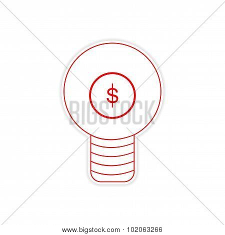 stylish sticker on paper bulb and money
