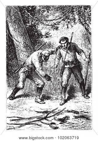 There was, on the ground, severed hands, vintage engraved illustration.