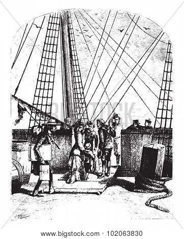 The schooner, Pilgrim, vintage engraved illustration.  Jules Verne, a 15 year old captain.