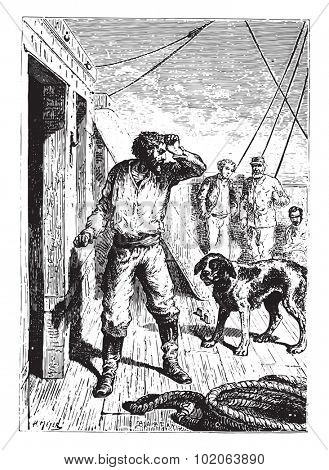 Not without a menacing gesture at the dog had escaped him, vintage engraved illustration.  Jules Verne, a 15 year old captain.