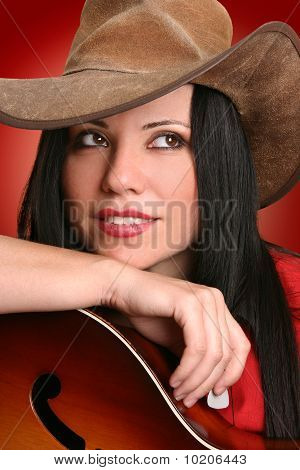 Woman Musician With Acoustic Guitar