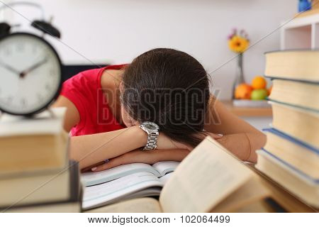 Tired Female Student At Workplace