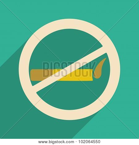 Flat with shadow icon and mobile application smoking allowed