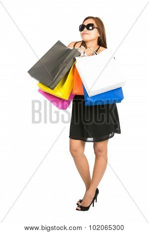 Asian Woman Daydreaming Store Bags Looking Away V