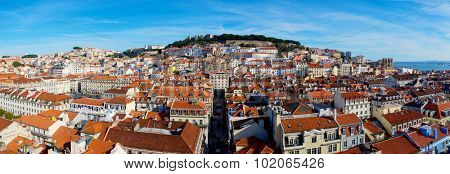 Aerial view of old town Lisbon, the bottom image looks San Jorge Castle, Portugal