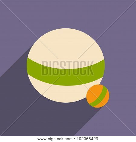 Flat with shadow icon and mobile application ball dog