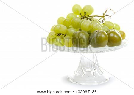 Fresh Ripe White Grapes Clusters In A Cup On White Background