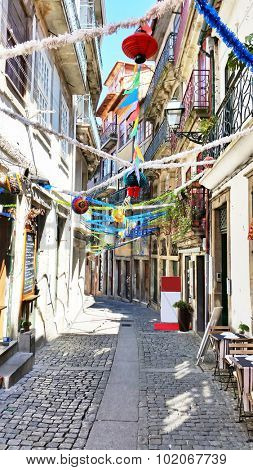 Old decorated street in Porto Portugal