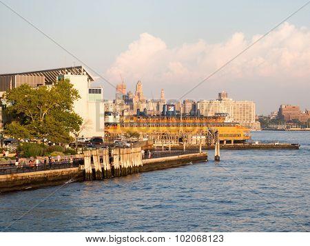 NEW YORK,USA - AUGUST 16,2015 : The Staten Island Ferry docked in Manhattan