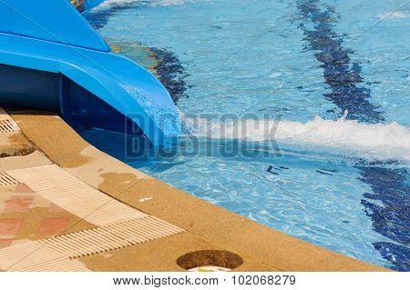 Blue Slider On The Pool