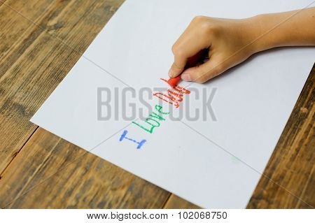 Kid Hand Drawing Text