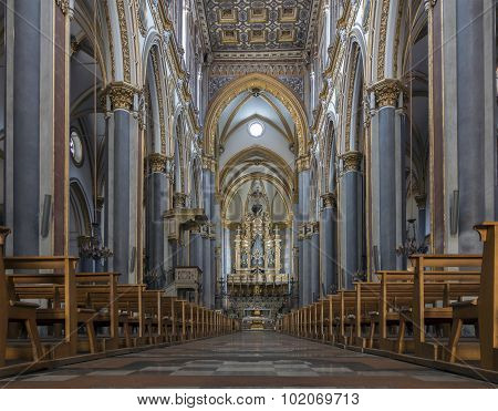 Interior Of The San Domenico Maggiore In Naples, Italy