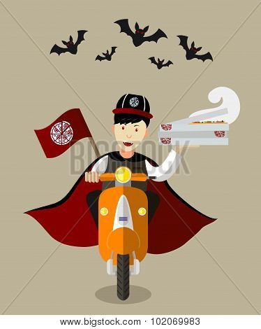 Halloween Vampire Food delivery boy On Scooter With Boxes Of Pizza