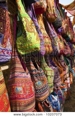Bags for sale at Anjuna market, Goa.