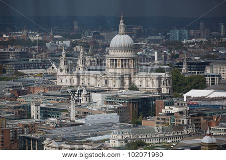 LONDON, UK - SEPTEMBER 17, 2015: London panorama. St. Pauls cathedral