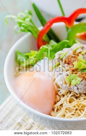 Chinese Noodles With Minced Pork And Egg In Bowl