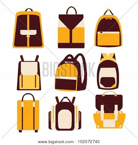 Set Of Various Bags And Backpacks
