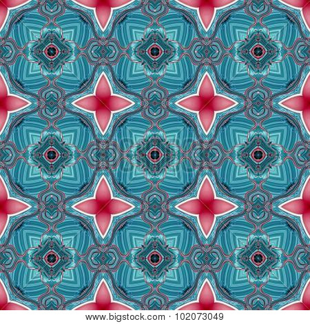Seamless Kaleidoscopic Pattern In Blue And Red 1