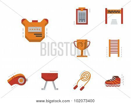 Flat simple vector icons for physical education