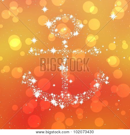 Starry Anchor Decor On Orange Background