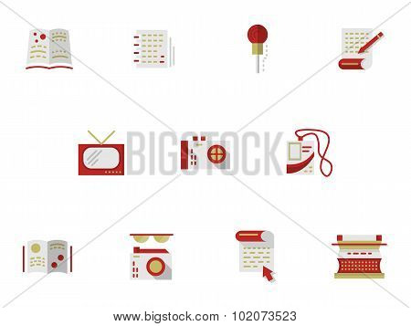 Flat simple vector icons for media publishing.