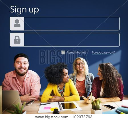 Sign up Register Account Profile Join Concept