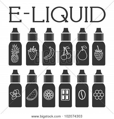 Vector E-liquid Illustration Of Different Flavor.