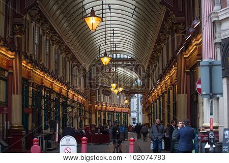 LONDON, UK - SEPTEMBER 19, 2015: Leadenhall Market in the City of London at Lime Street Passage