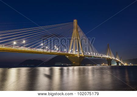 View Of The Bridge Rio-antirio In Greece, At Night.