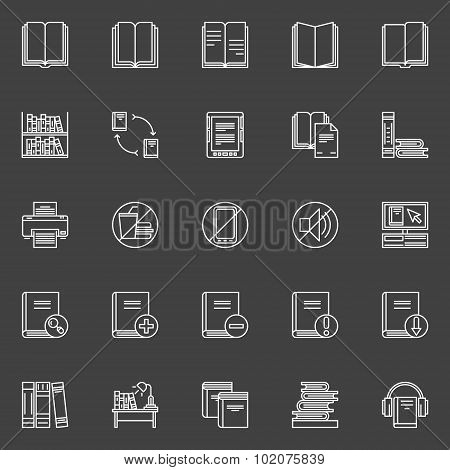 Library linear icons set