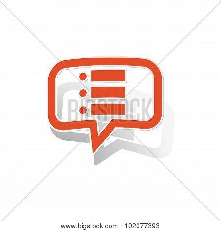 Dotted list message sticker, orange