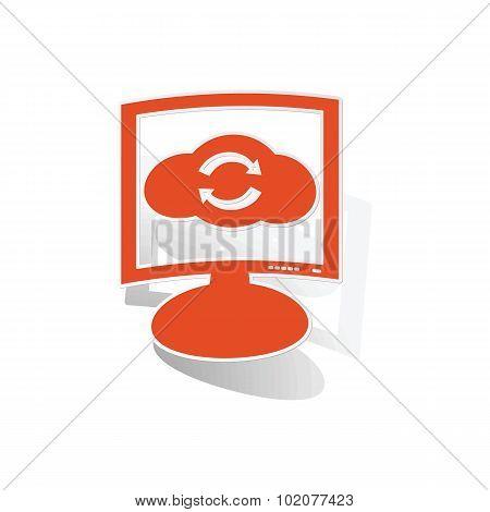 Cloud refresh monitor sticker, orange