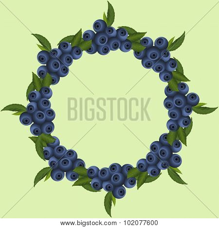 Frame Of Blueberries With Green Leaves