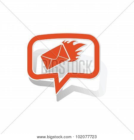 Burning envelope message sticker, orange
