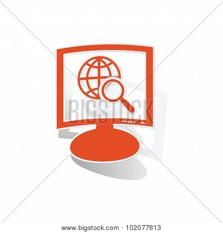 Global search monitor sticker, orange