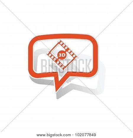 3D movie message sticker, orange
