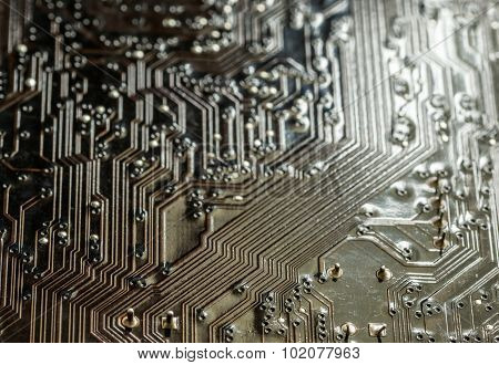 Closeup Macro Of A Computer Pcb Board