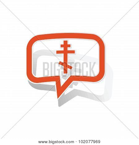 Orthodox cross message sticker, orange