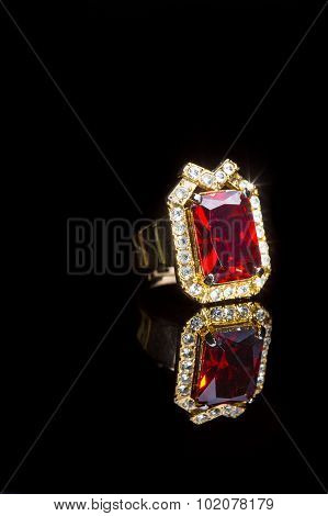 beautiful gold ring with precious stone