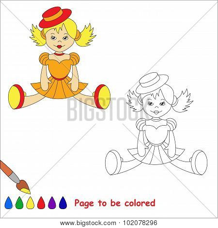 Blonde toy doll in orange dress and red hat.