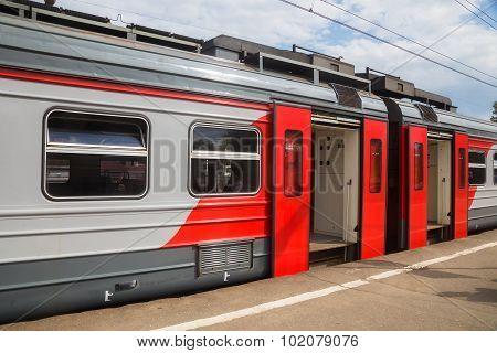 Rzd Train Standing At Platform