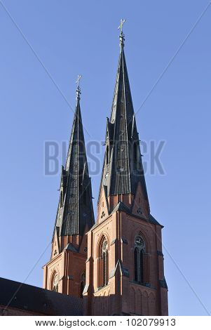 The two towers, spires of Uppsala Cathedral.